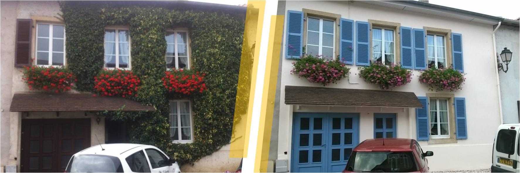 Ravalement de façade d'une maison de village