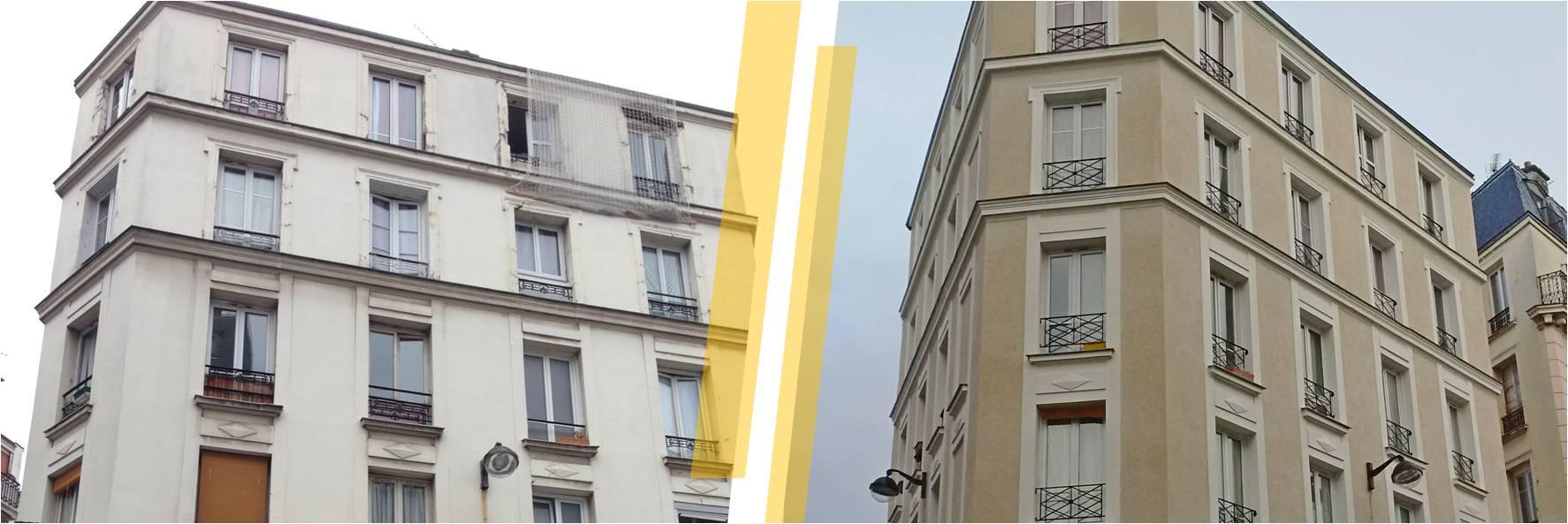 Ravalement d'un immeuble, façade en pierre de taille